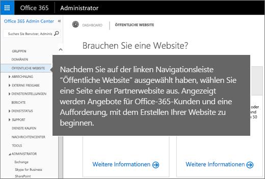 """Wählen Sie in Office 365 """"Öffentliche Website"""" aus"""
