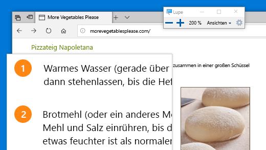 Drücken Sie zum schnellen Öffnen der Bildschirmlupe die Windows-Logo-Taste und das Pluszeichen (+).