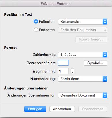 """Feld """"Fuß- und Endnote"""""""