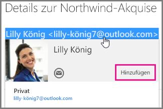 Einen Kontakt auf Basis einer E-Mail-Nachricht erstellen