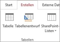 """Access-Menübandbefehl für """"Erstellen"""" > """"Tabellenentwurf"""""""