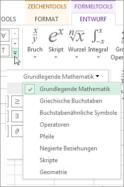 Auf den Pfeil klicken, um bestimmte Symbole in der Symbolleiste für Formeln anzuzeigen