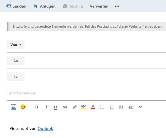 Einer E-Mail im Websitepostfach Adressen hinzufügen