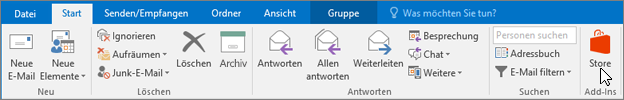 "Screenshot der Registerkarte ""Start"" in Outlook, auf der der Cursor in der Gruppe ""Add-Ins"" auf das Symbol ""Store"" zeigt."