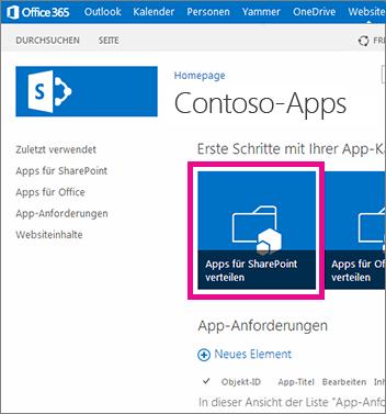 Die Kachel 'Apps für SharePoint verteilen' auf einer App-Katalogwebsite