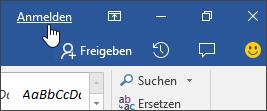 """Screenshot mit dem Link """"Anmelden"""" in einer Office-Desktopanwendung"""