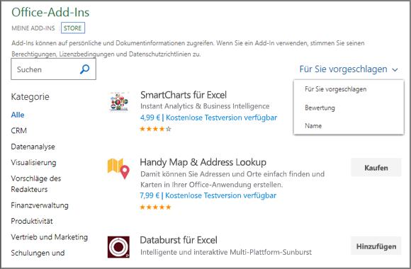 """Screenshot des Abschnitts """"Store"""" der Seite """"Office-Add-Ins"""", in dem Sie anhand der Bewertung, des Namens oder mithilfe der Option """"Für Sie vorgeschlagen"""" nach einem Add-In suchen können. Sie können auch das Suchfeld verwenden, um nach einem Add-In zu suchen."""