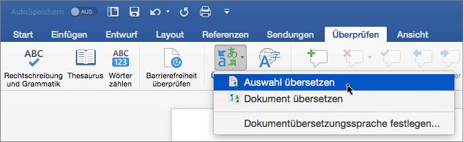 """Registerkarte """"Überprüfen"""" mit hervorgehobener Option """"Auswahl übersetzen"""""""
