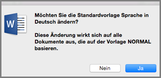 Office für Mac-Standardsprache