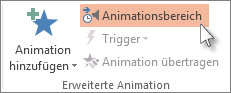 Öffnen des Animationsbereichs