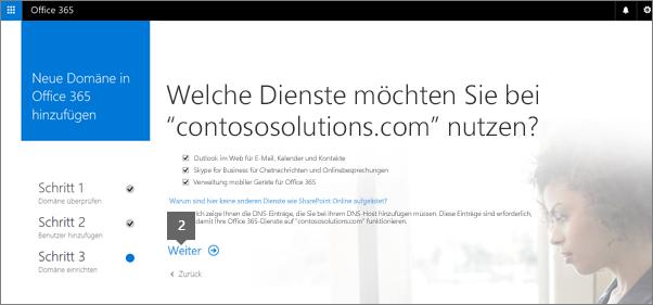 """Wählen Sie auf der Office 365-Dienstseite """"Weiter"""" aus"""