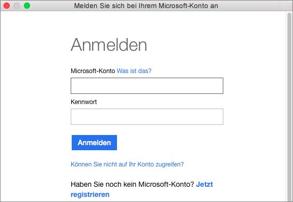 Geben Sie die Anmeldeinformationen Ihres Microsoft-Kontos ein, um auf die mit Ihrem Konto verknüpften Dienste zuzugreifen.
