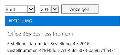 """Screenshot der Seite """"Rechnungen"""" im Office 365 Admin Center."""