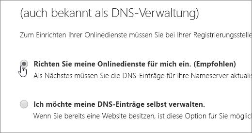 """Wählen Sie """"Richten Sie meine Onlinedienste für mich ein"""" aus."""