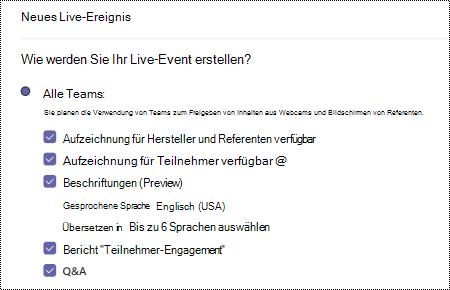 Dialog Feld zum Auswählen der QA-Option für Teams Live-Ereignis beim Planen eines Ereignisses.