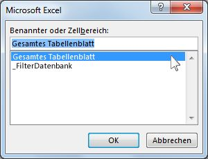 "Dialogfeld ""Microsoft Excel"" in Word"