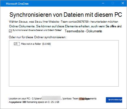 Office 365 SharePoint - auffordern, Synchronisieren von Dateien