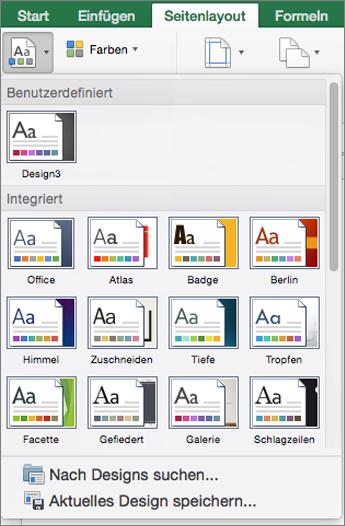 """Klicken Sie auf """"Seitenlayout"""" und dann auf """"Designs""""."""