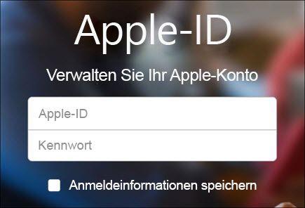 Mit Ihrem iCloud-Benutzernamen und -Kennwort anmelden
