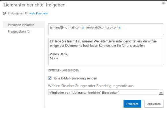 Abbildung des Dialogfelds 'Freigeben' für eine Website, das mit den Namen externer Benutzer gefüllt ist