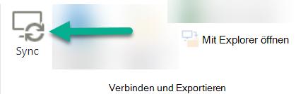 """Die Option """"synchronisieren"""" befindet sich im SharePoint-Menüband direkt links neben """"mit Explorer öffnen""""."""