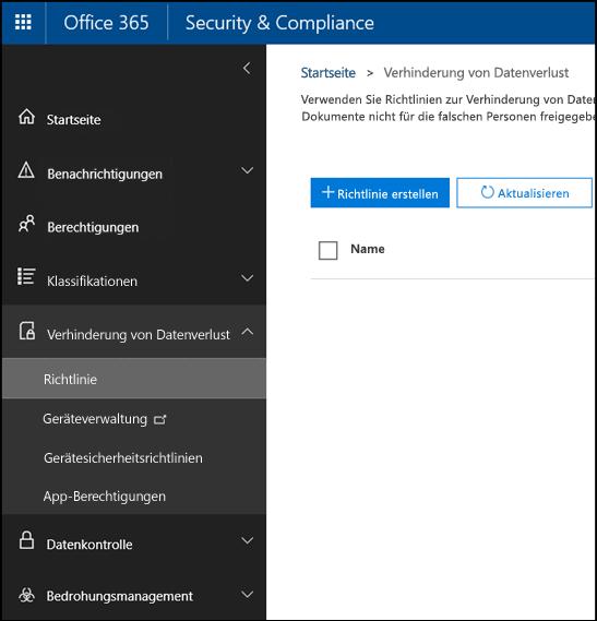 """Seite """"Verhinderung von Datenverlust"""" im Office 365 Security & Compliance Center"""