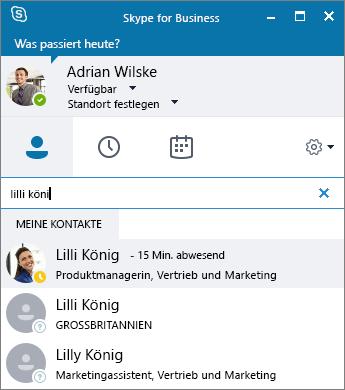 Screenshot des Skype for Business-Fensters während der Suche nach einem Kontakt, der hinzugefügt werden soll