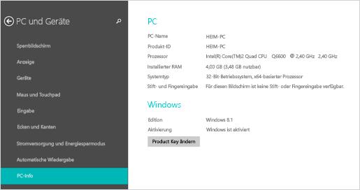 PC-Infoseite in den PC-Einstellungen