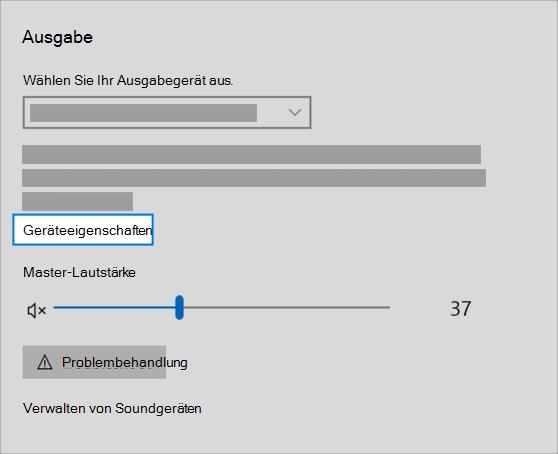 "Link ""Soundausgabe Geräteeigenschaften"" im Menü ""Sound"""