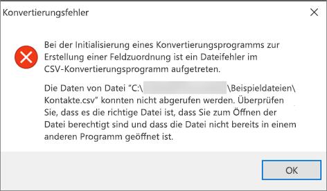 Dies ist die Fehlermeldung, die Sie erhalten, wenn die CSV-Datei leer ist.