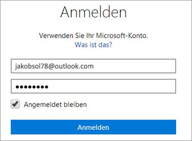 """Zum Aktivieren der automatischen Anmeldung aktivieren Sie """"Angemeldet bleiben""""."""