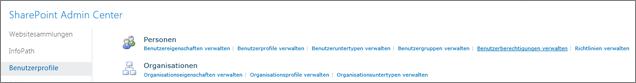Den Link Benutzerberechtigungen verwalten auf der Profilseite
