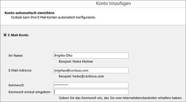 Screenshot zum Hinzufügen eines E-Mail-Kontos zu Outlook