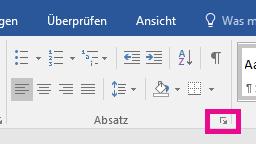 """Sie können das Dialogfeld """"Absatz"""" öffnen, indem Sie auf das Symbol """"Erweitern"""" klicken."""