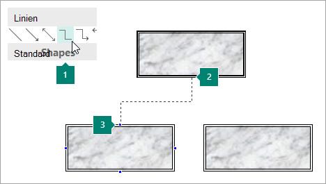 Verbinden von Formen mit Verbindungslinien