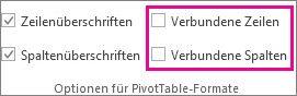 Kästchen 'Verbundene Zeilen' und 'Verbundene Spalten' auf der Registerkarte 'Entwurf'