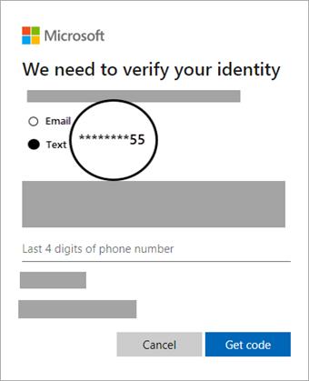 Screenshot der ausgewählten Verifizierungsoption zum, Abrufen eines Codes