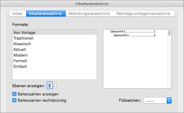 """Wählen Sie im Dialogfeld """"Inhaltsverzeichnis"""" auf der Registerkarte """"Inhaltsverzeichnis"""" die Einstellungen für das Inhaltsverzeichnis Ihres Dokuments aus."""
