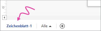 """Pfeil zeigt auf Registerkarte """"Zeichenblatt-1""""."""