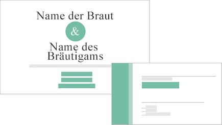 Konzeptionelle Darstellung einer Hochzeitseinladung und einer Antwortkarte