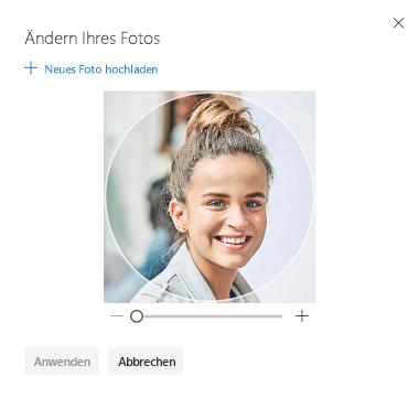 Bildschirm mit einer Option zum Ändern Ihres Profilfotos