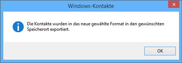 Es wird eine endgültige Meldung angezeigt, dass Ihre Kontakte in eine CSV-Datei exportiert wurden.