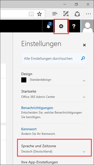 """Screenshot: Bereich """"Einstellungen"""" mit Symbol """"Einstellungen"""" und Spracheinstellungen"""