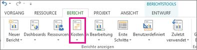 Schaltfläche 'Kosten' auf der Registerkarte 'Bericht'