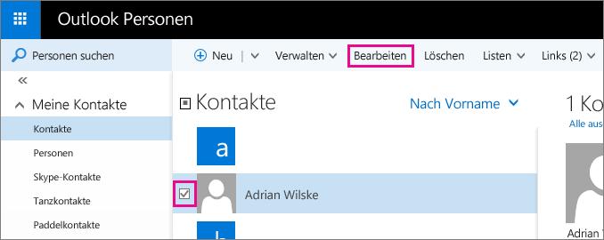 """Screenshot eines Teils der Outlook-Seite """"Personen"""". Im Screenshot ist das Kontrollkästchen neben einem Kontaktnamen aktiviert, und es gibt ein Popup für den Befehl """"Bearbeiten"""" in der Symbolleiste."""