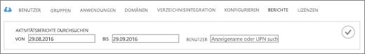 """Screenshot einer vergrößerten Ansicht der Seite """"Berichte"""", auf der Sie den Zeitraum und den Namen des Benutzers eingeben können, für den Sie Aktivitätsberichte erstellen möchten."""