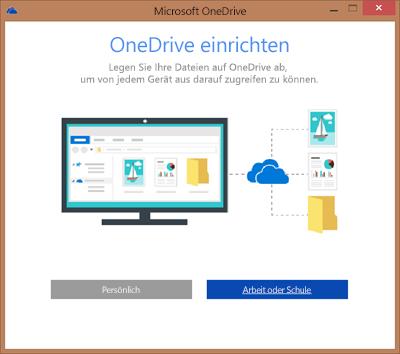 """Screenshot des Dialogfelds """"OneDrive einrichten"""" beim Einrichten von OneDrive for Business für die Synchronisierung"""