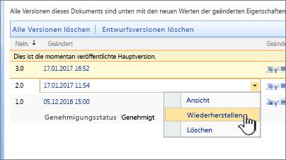 """Dropdown """"Versionsverwaltung"""" für Datei, """"Wiederherstellen"""" hervorgehoben"""