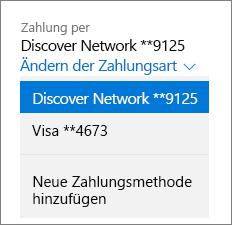 """Seite """"Dienste und Abonnements"""" mit dem Dropdownmenü """"Zahlungsweise ändern"""" für ein Office 365 Home-Abonnement"""