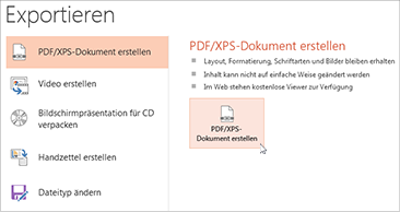 Speichern einer Präsentation als PDF